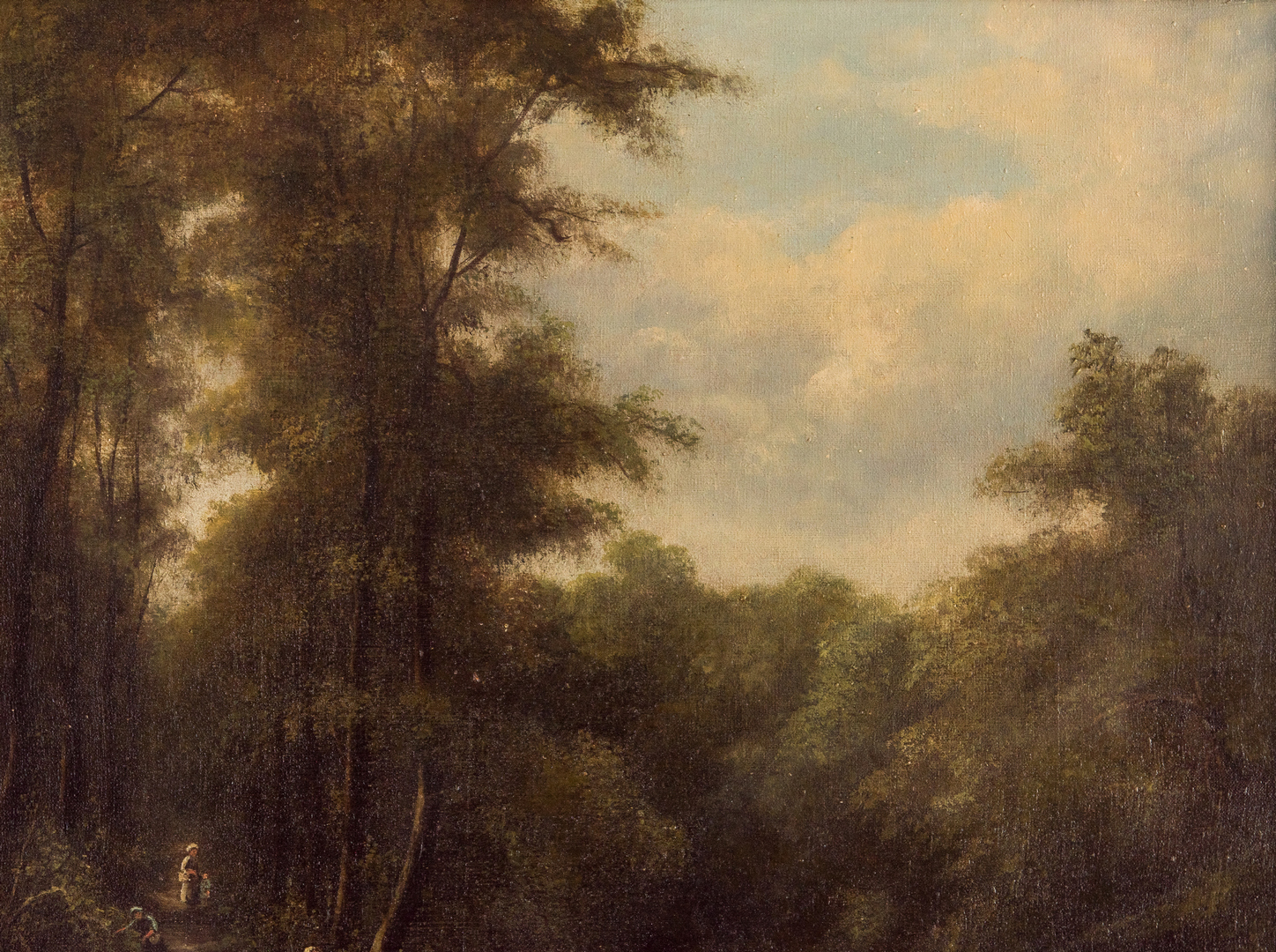 Lot 918: Charles Boot O/C Landscape, Figures in a Wooded Glade