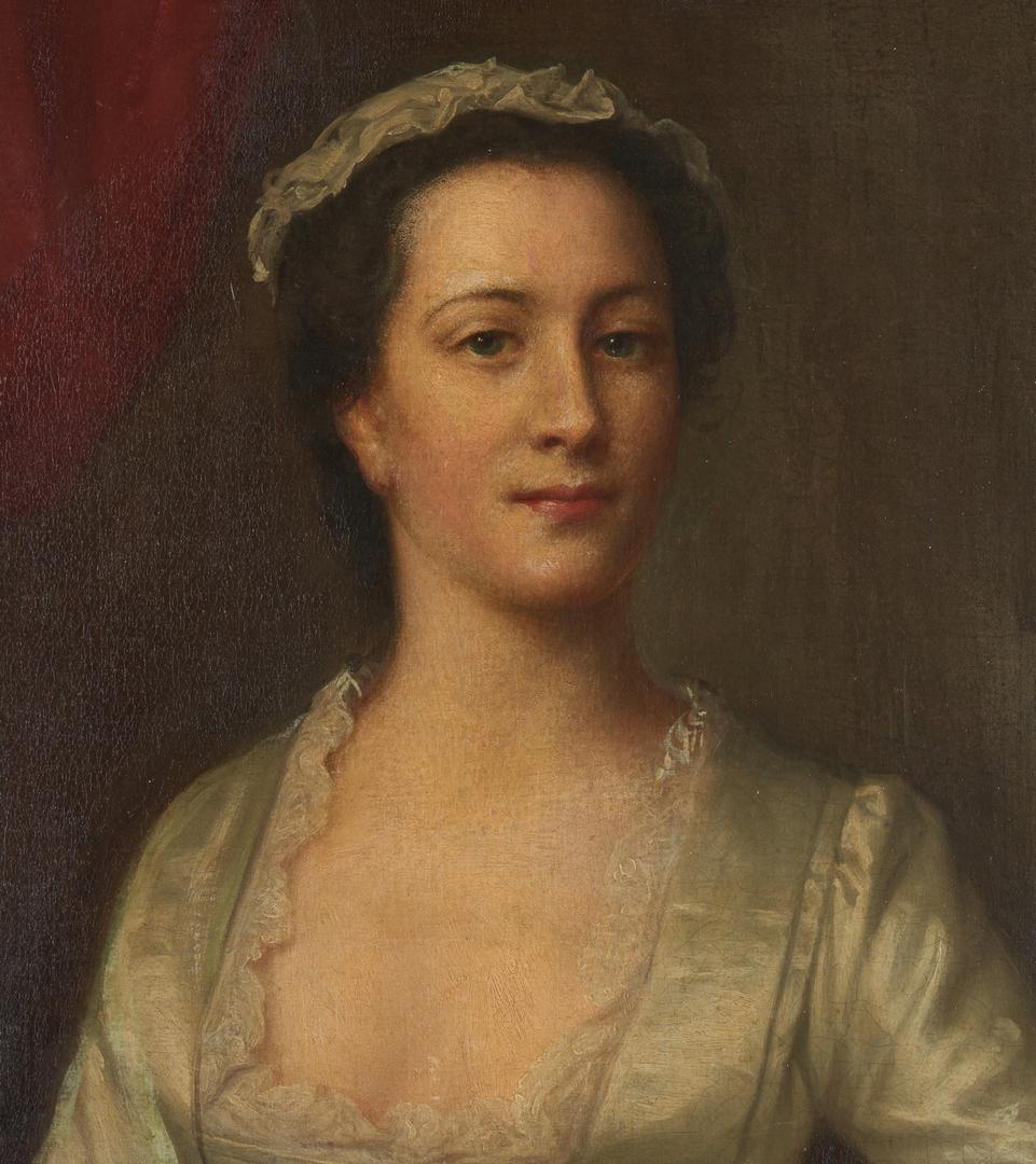Lot 91: Attrib. Joseph Highmore, Oil Portrait of Mrs. E. Holmes