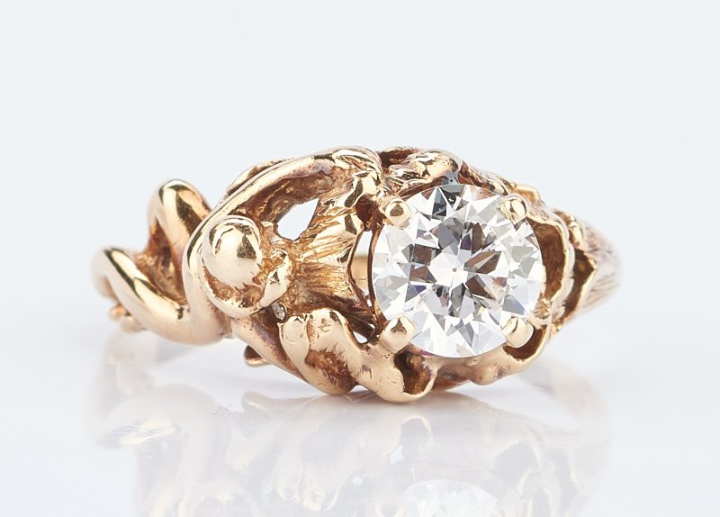 Lot 924: Diamond Solitaire Ring w/ Art Nouveau Gold Setting
