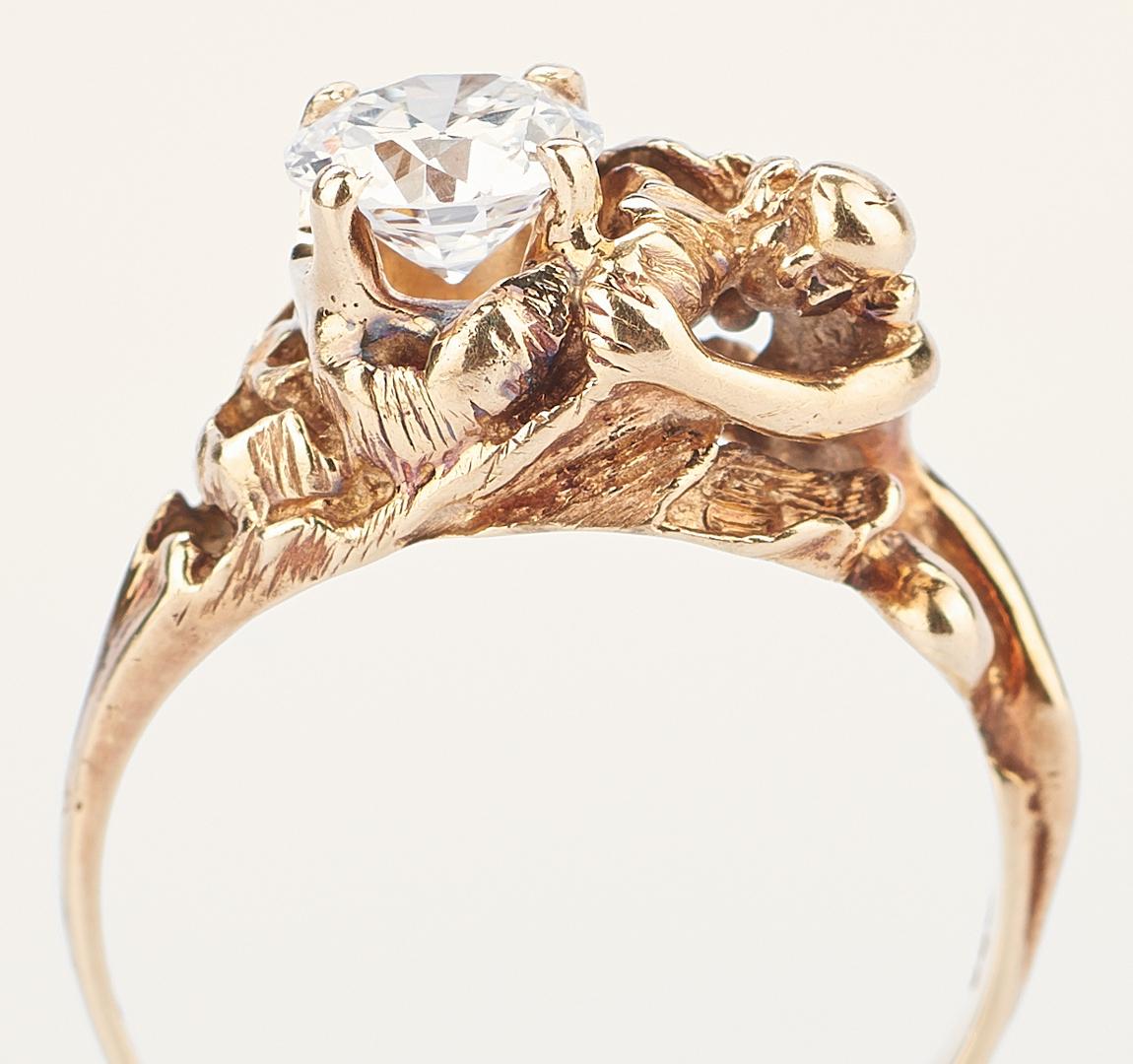 Lot 924: Diamond Solitaire Ring w/ Art Nouveau Gold Setting