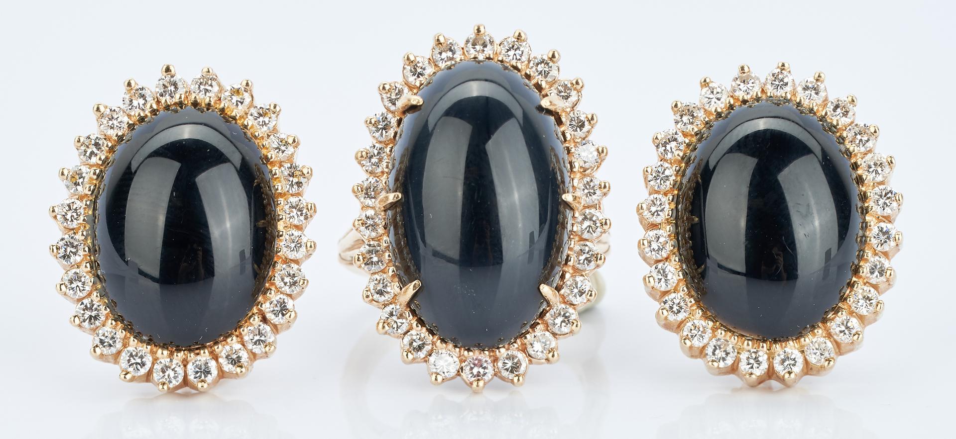 Lot 925: 14K Onyx & Diamond Ring plus Earrings