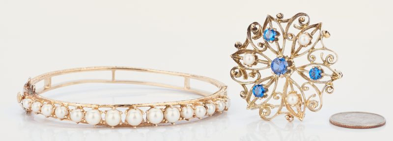 Lot 926:  14K Sapphire and Pearl Brooch & 14K Pearl Bangle Bracelet