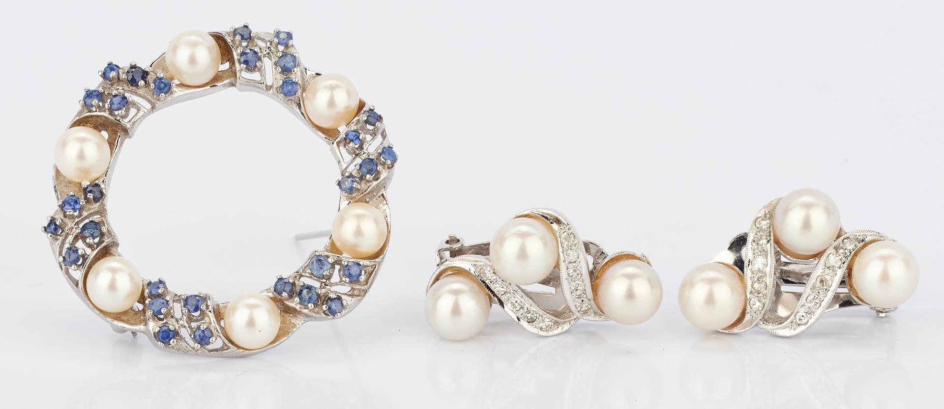 Lot 928: 3 14K Pearl and Gemstone Items, Brooch & Earrings