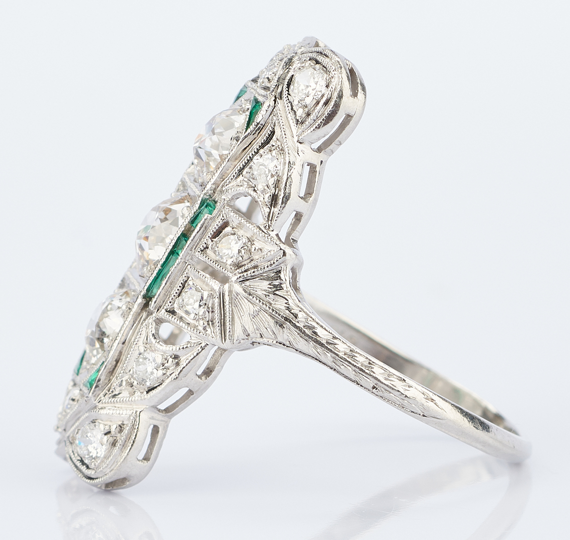 Lot 931: Ladies Platinum, Diamond & Green Glass Ring