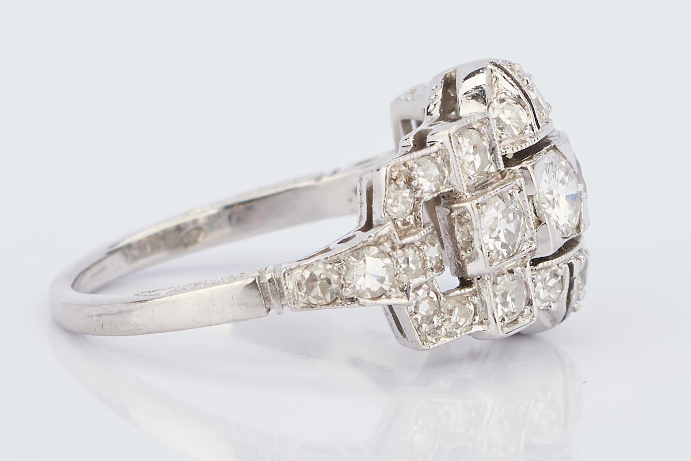 Lot 932: Ladies Art Deco Platinum & Diamond Ring