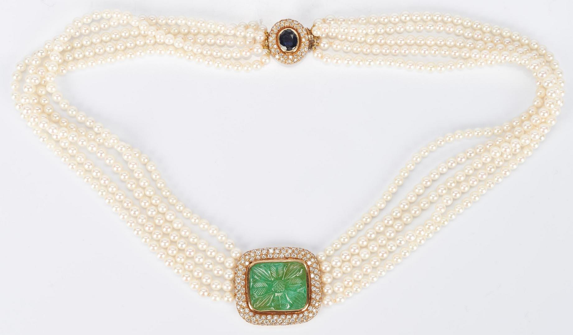 Lot 933: 18K Pearl Strand Necklace w/ Jade, Sapphire, & Diamonds.