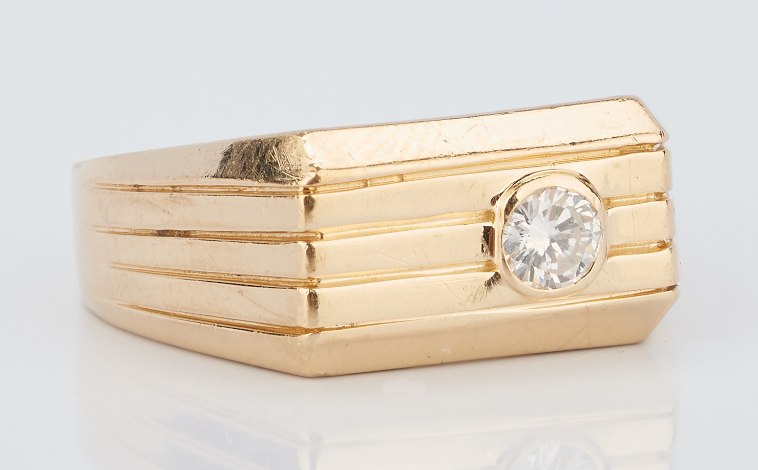 Lot 934: Pr. 14K Men's Gold Rings w/ Stones