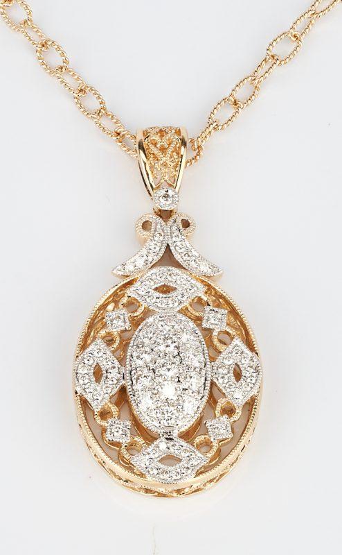 Lot 936: 14K Diamond Pendant with Chain