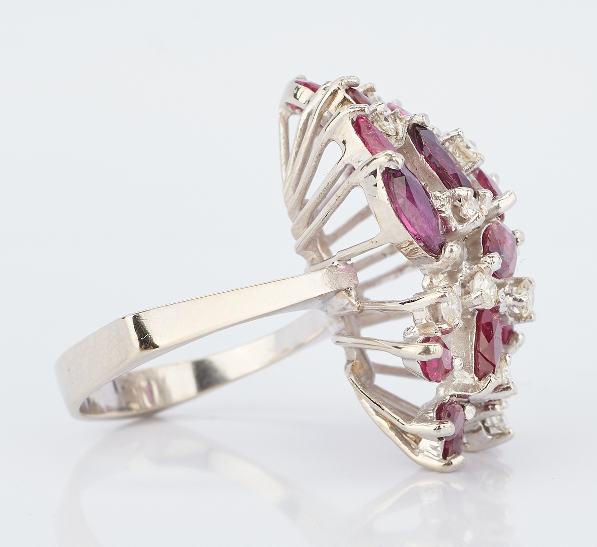Lot 937: 14K White Ruby & Diamond Dinner Ring