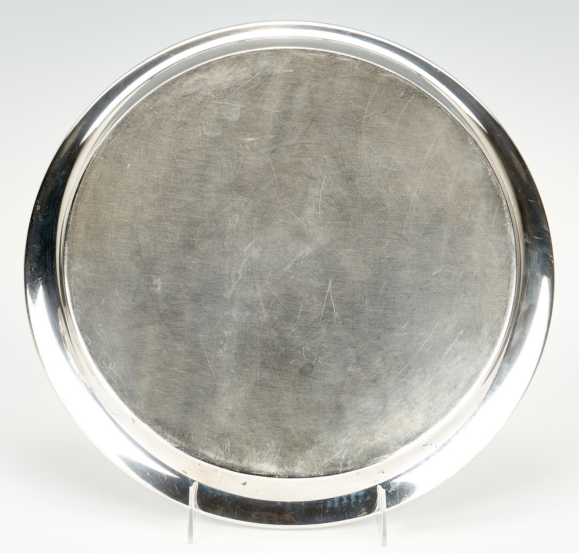 Lot 941: Large Sterling Round Tray and Bread Tray