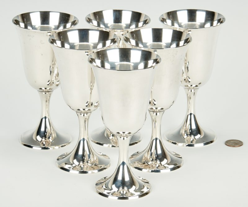Lot 943: 6 Gorham Sterling Silver Goblets