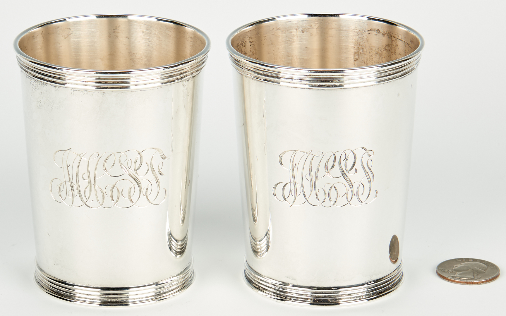 Lot 954: Pair Trees Kentucky Coin Silver Julep Cups