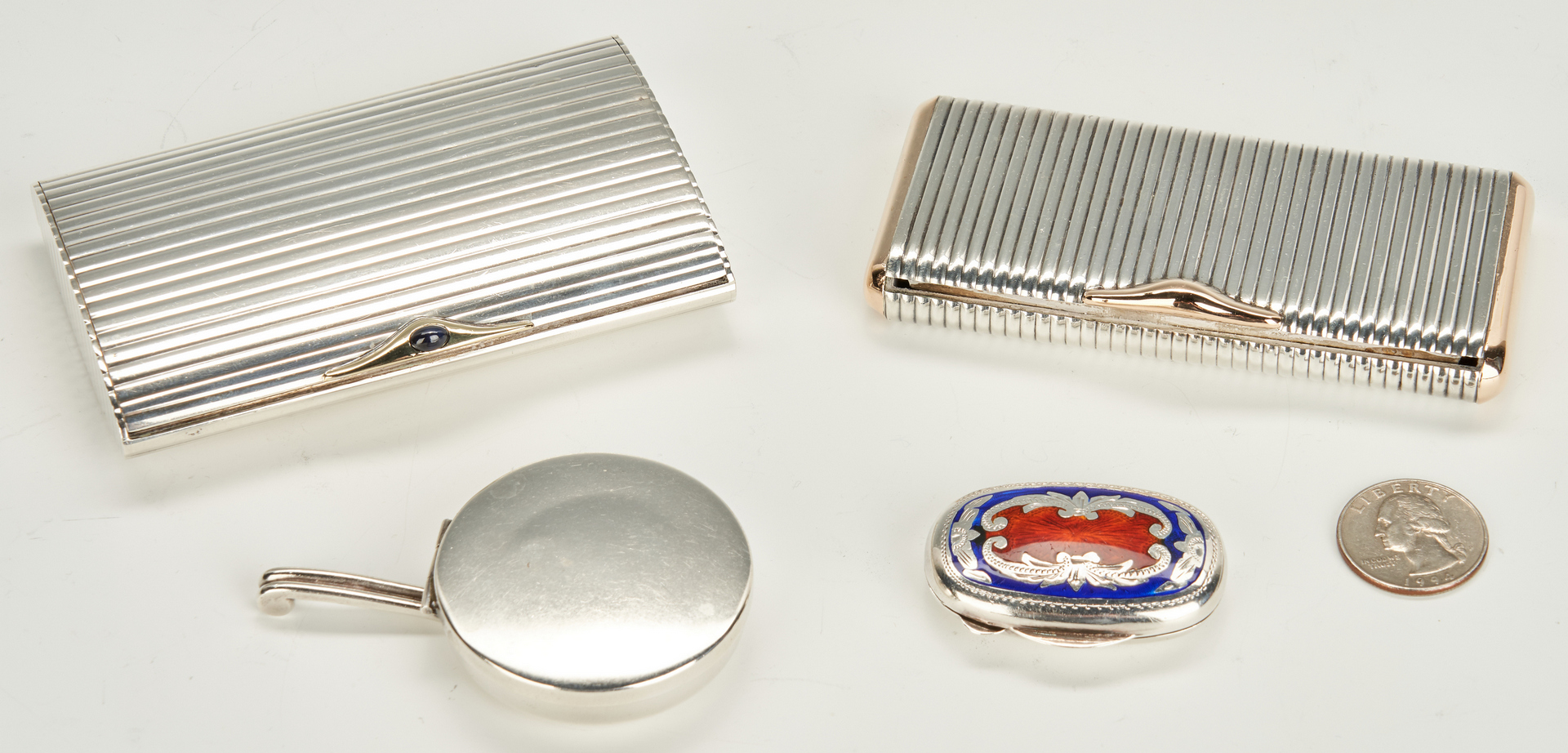 Lot 956: 2 Sterling Cigarette Cases + Traveling Ashtray + Snuff Box