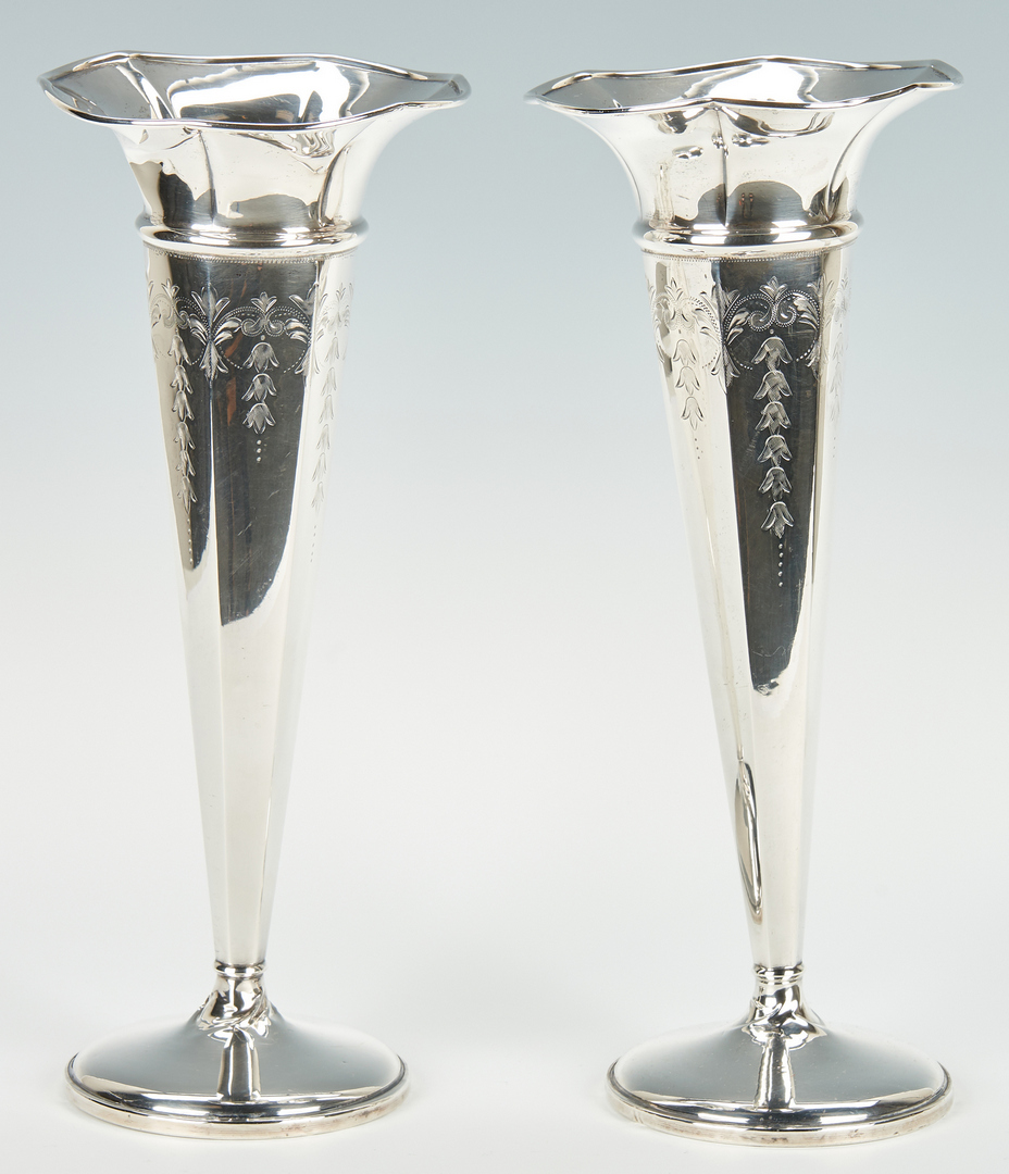 Lot 961: Pair M. Fred Hirsch Weighted Sterling Silver Trumpet Vases