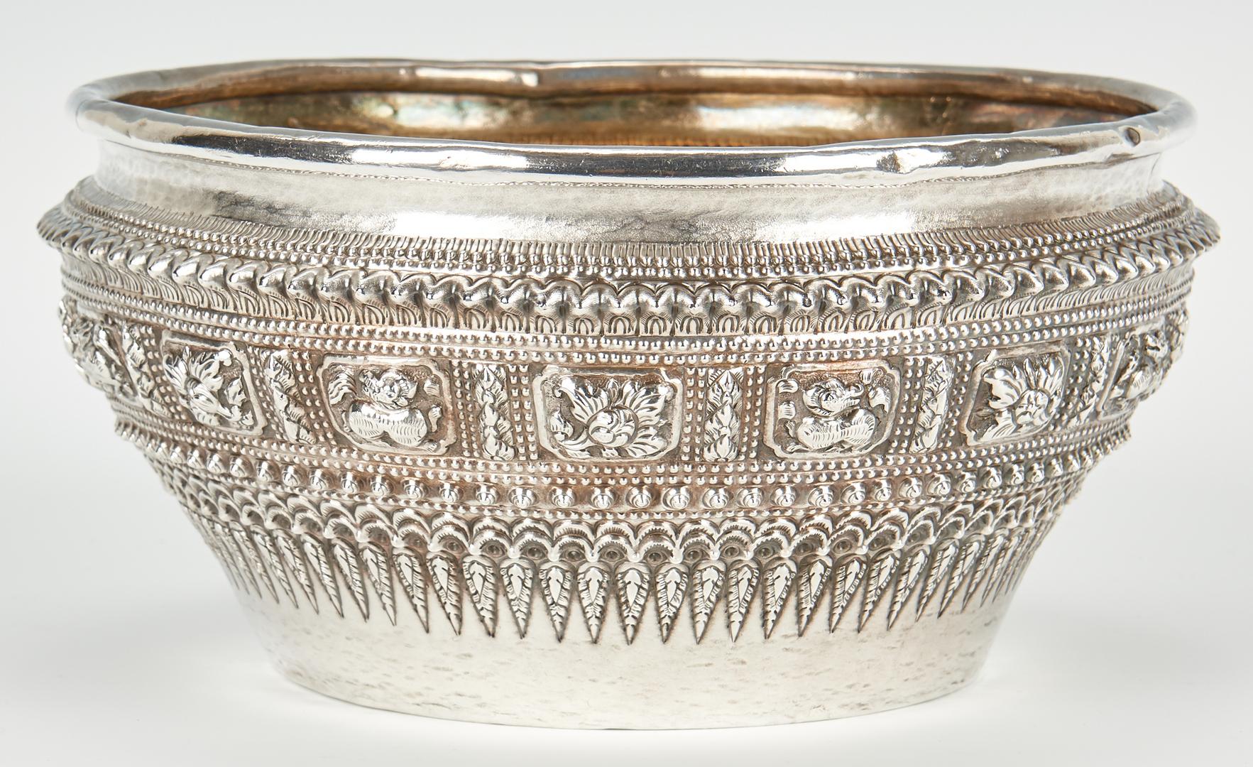 Lot 962: Sino-Tibetan Silver Repousse Bowl