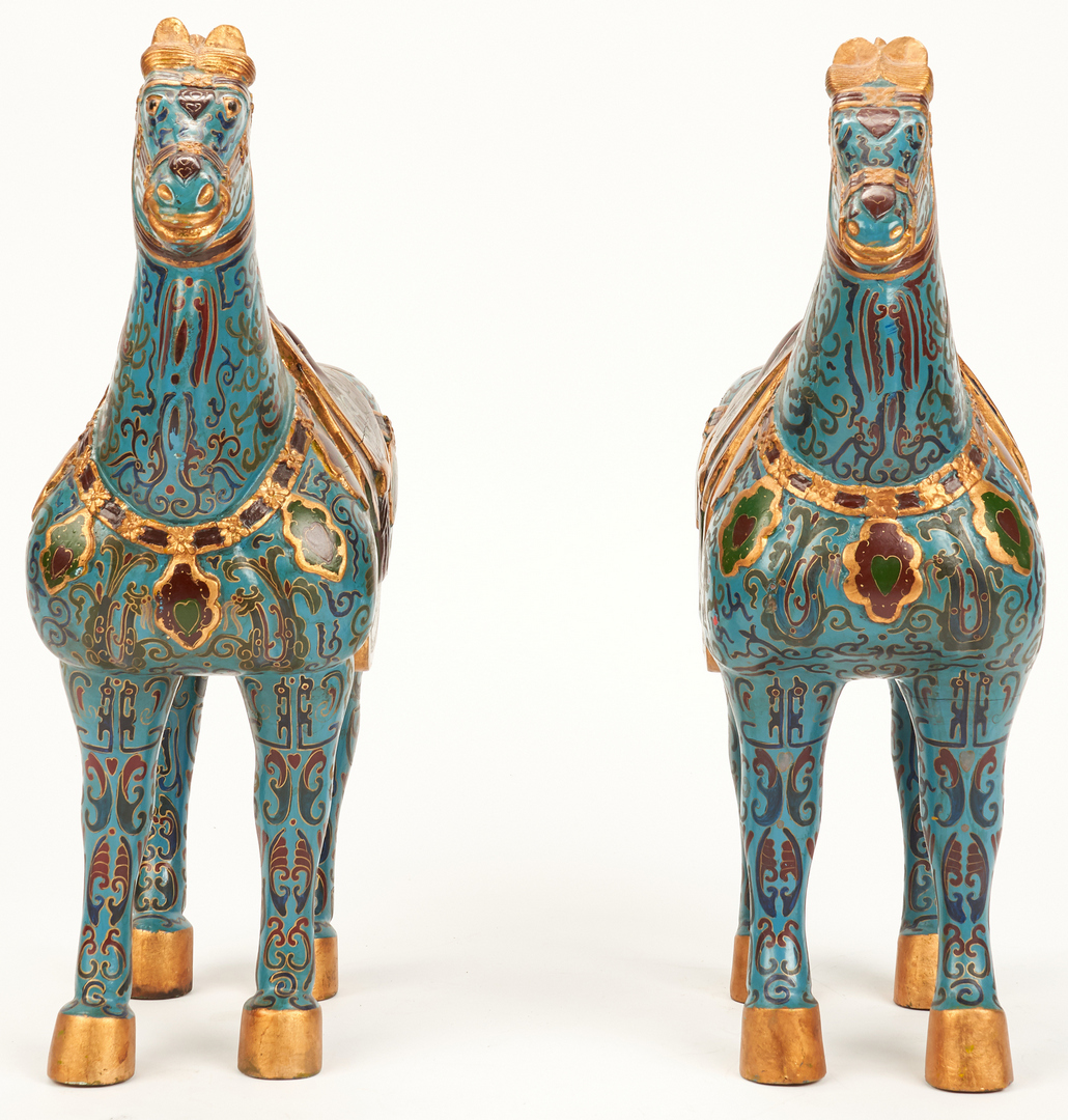 Lot 963: Pair of Chinese Wooden Horses, Cloisonne Pattern