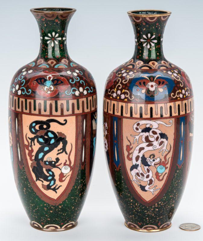 Lot 964: Pr. Aesthetic Movement Asian Cloisonne Vases