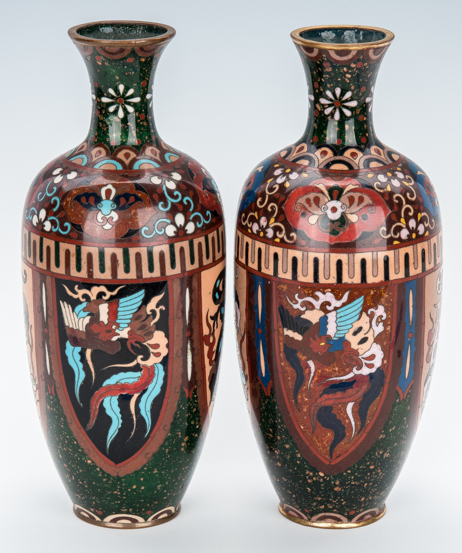 Lot 964: Pr. Aesthetic Movement Asian Cloisonne Vases