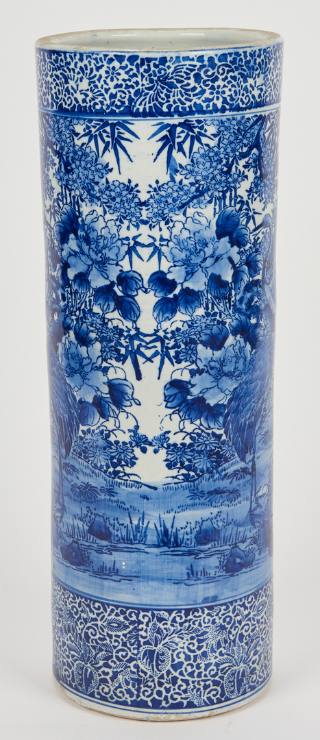 Lot 966: Japanese Blue and White Porcelain Umbrella Stand