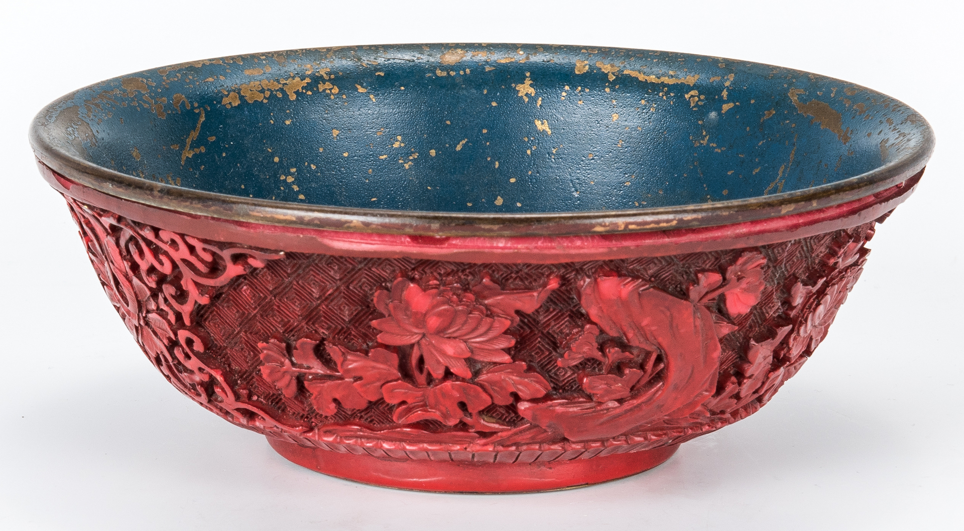 Lot 968: 1 Celadon Jade & 3 Carved Hardstone Items, 1 Cinnabar Bowl