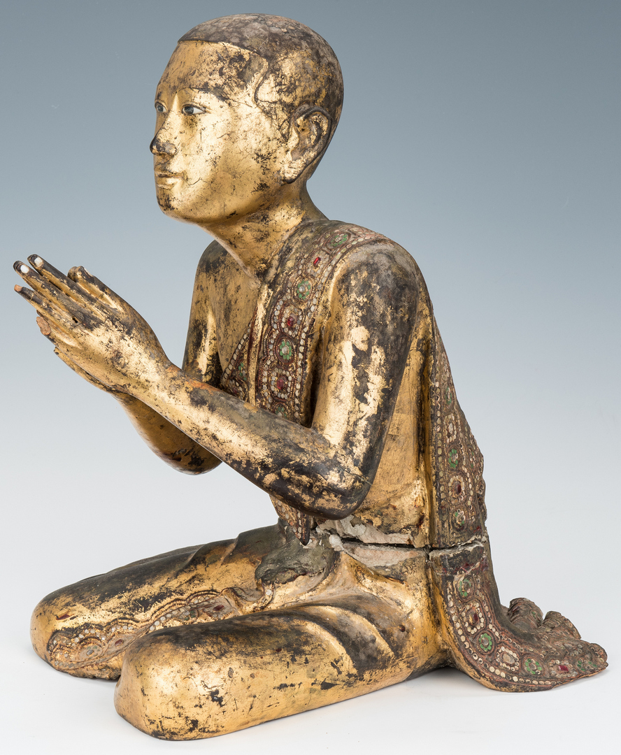 Lot 969: Carved Giltwood & Jeweled Buddhist Temple Monk