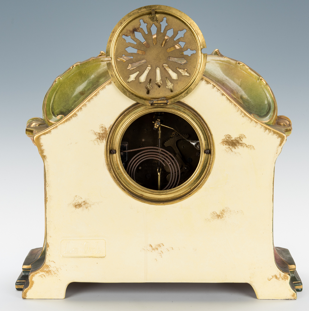 Lot 971: Ansonia Royal Bonn Porcelain Mantle Clock