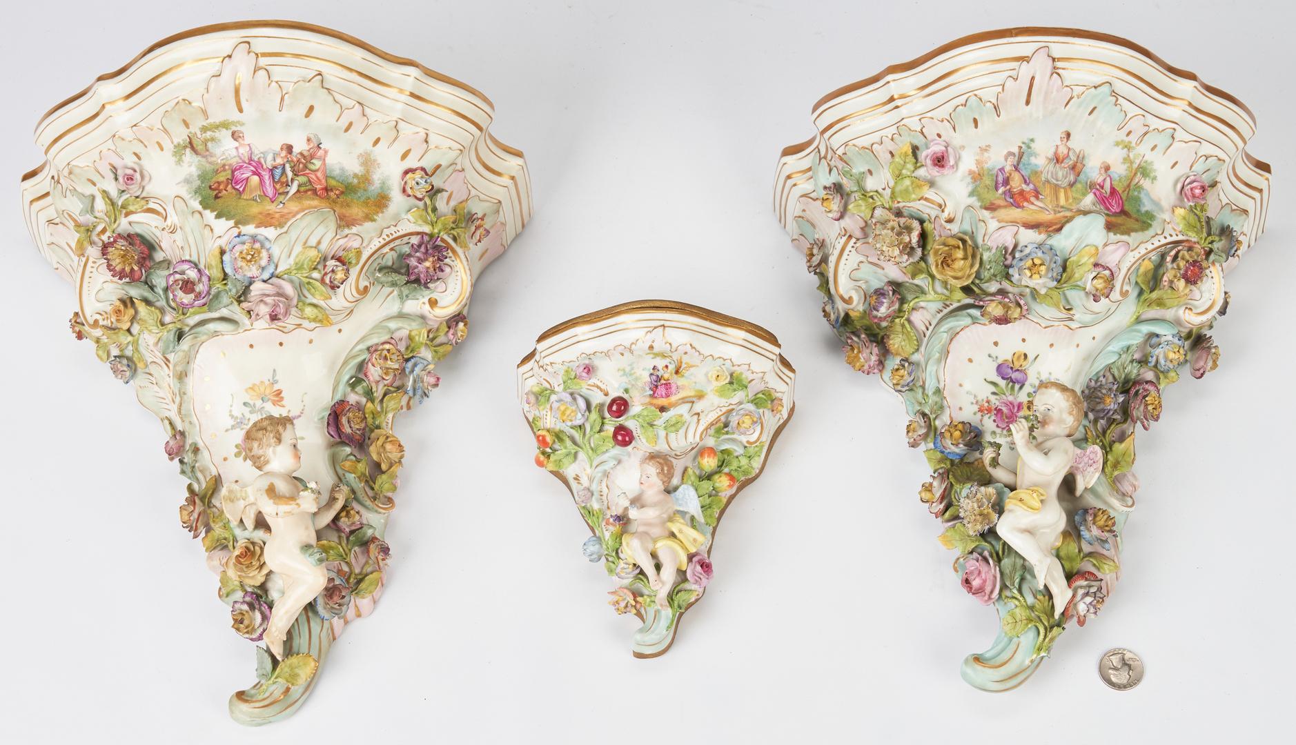 Lot 973: 3 Meissen Style Porcelain Wall Brackets