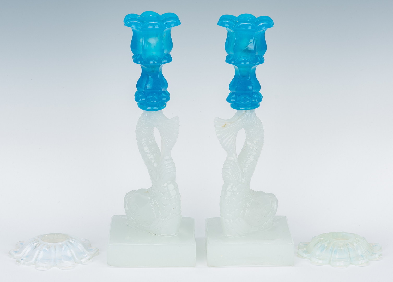 Lot 978: Pr. Sandwich Glass Dolphin Fish Candlesticks
