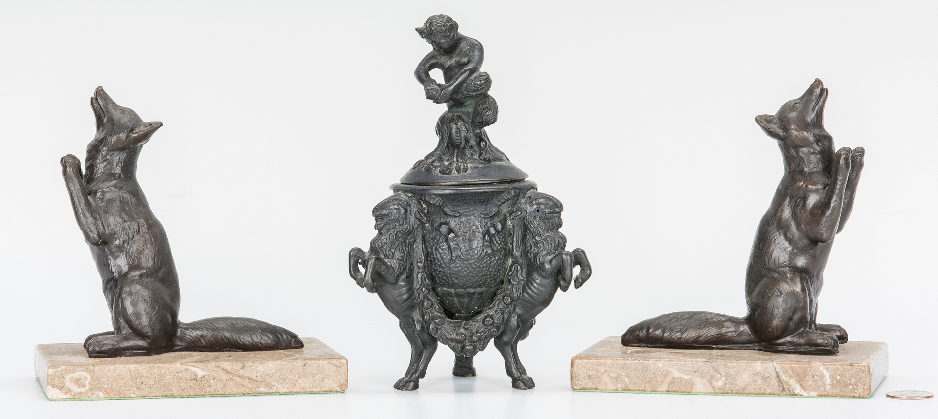 Lot 980: Bronze Covered Urn and Pair of Fox Bookends