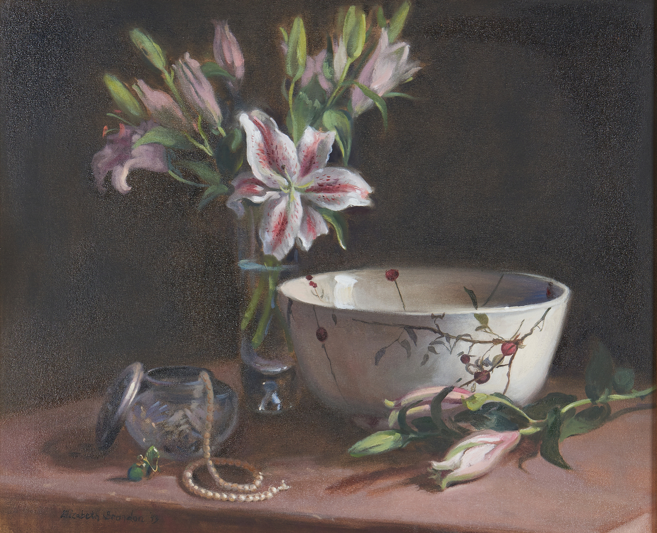 Lot 981: Elizabeth Brandon O/C, Still Life With Lilies