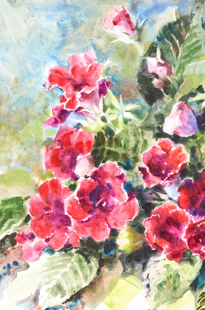 Lot 983: Josie Van Gent Edell, Watercolor With Flowers