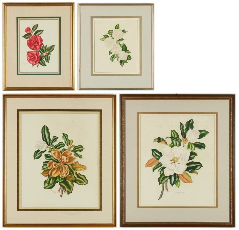 Lot 984: 4 Lila Moore Keen Floral Watercolor Paintings