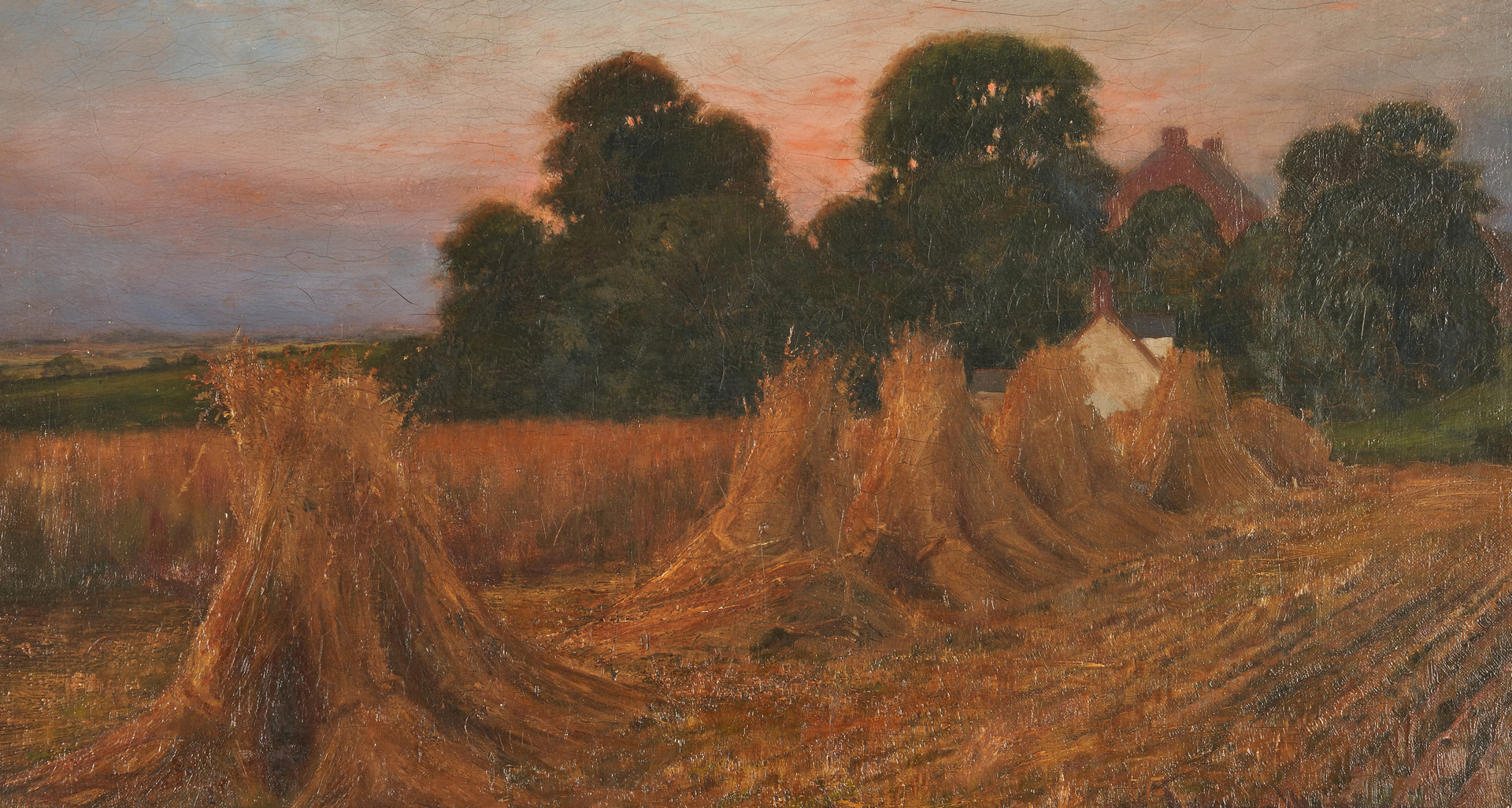 Lot 988: 19th c. Haystack Painting, O/C, Signed