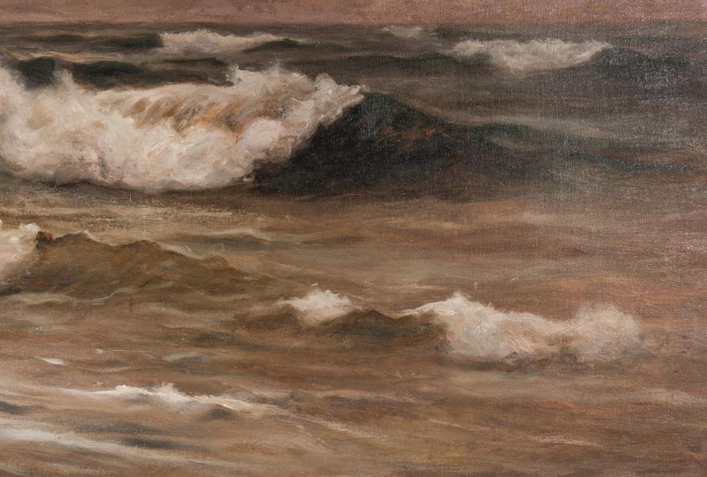Lot 990: William Halsey O/C, Crashing Waves Seascape