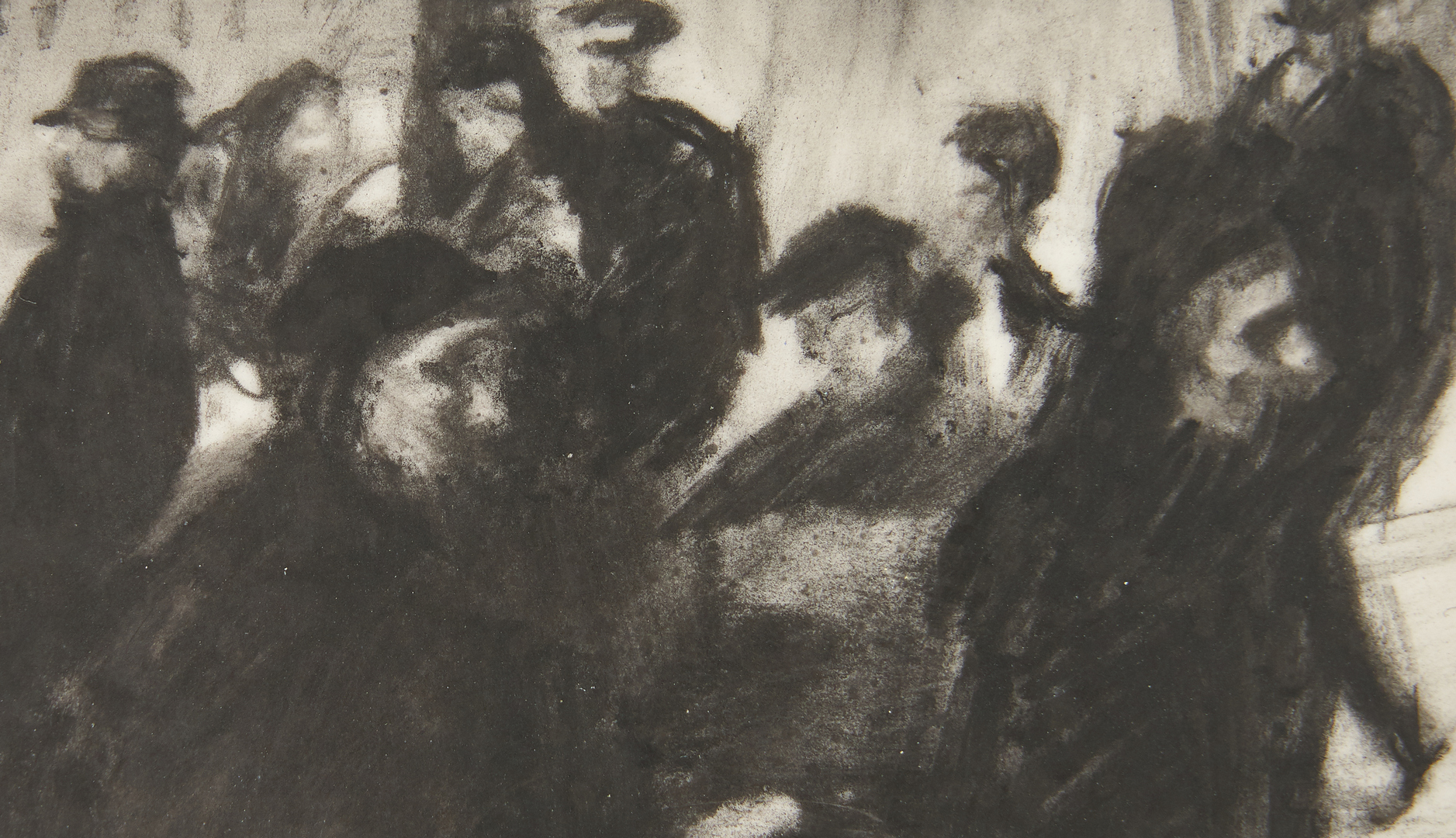 Lot 993: Dozier Bell Drawing of Two Women Walking