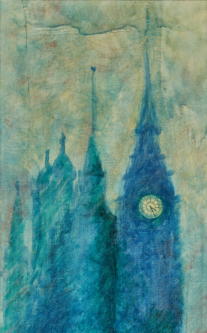 Lot 994: Oil on board painting of Big Ben