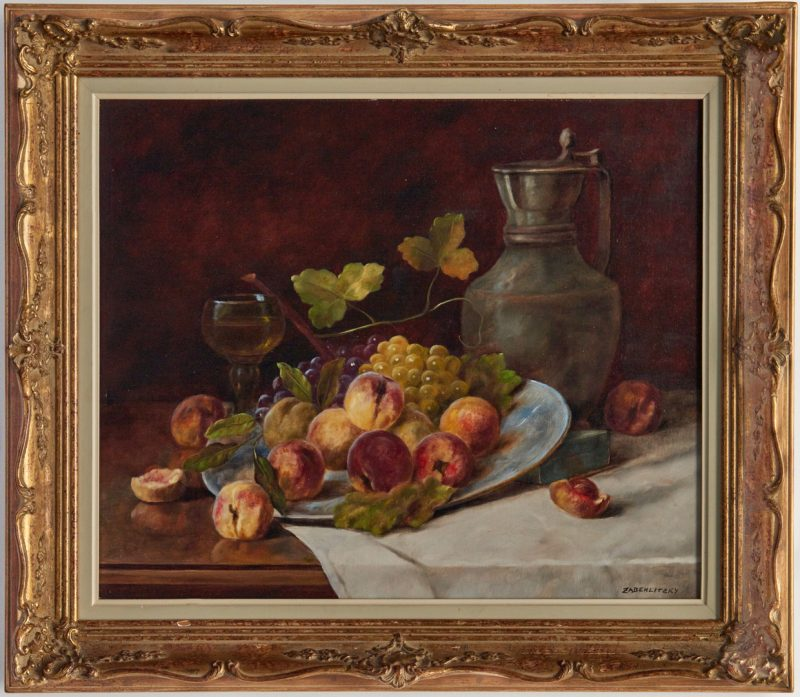 Lot 995: Continental O/C Still Life Painting, signed Zabehli