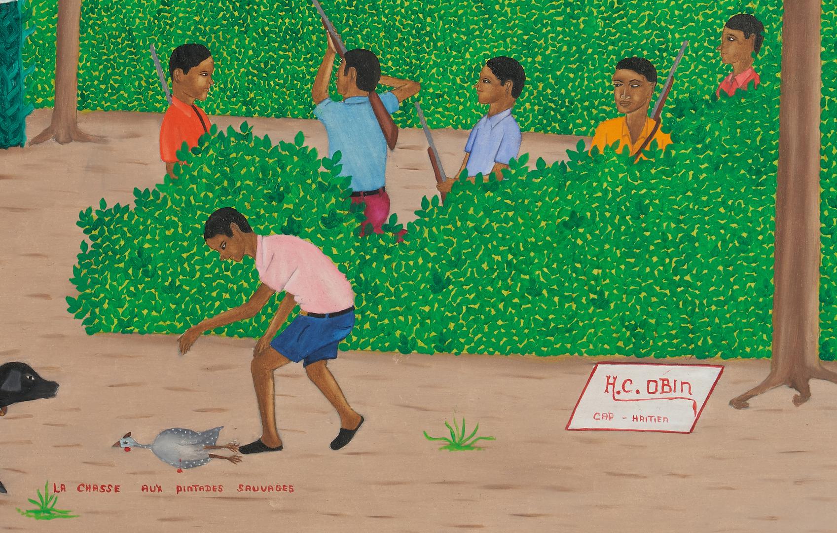 Lot 998: Henri Claude Obin O/B, Haitian Hunting Scene