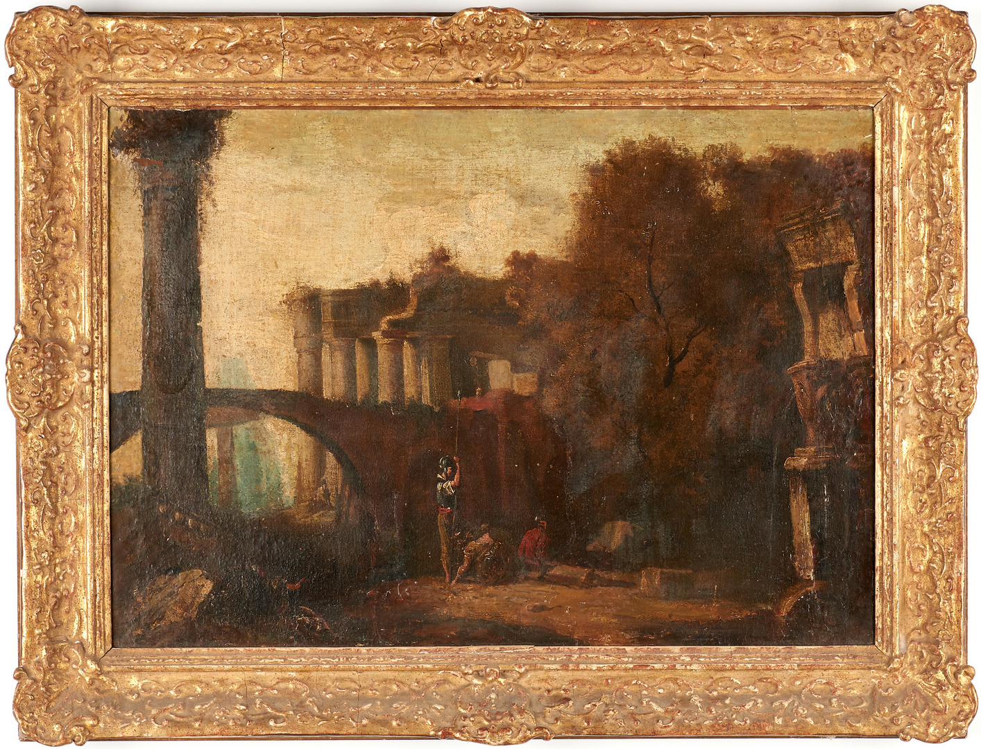 Lot 99: Style of Hubert Robert, 18th C. Landscape with Roman Ruins and 3 figures