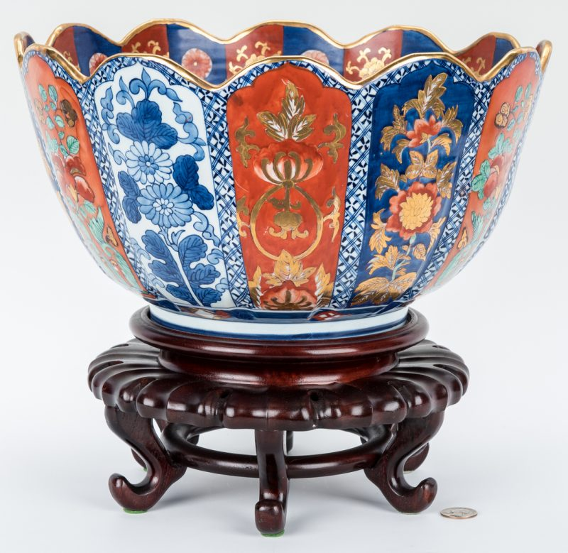 Lot 9: Large Japanese Imari Porcelain Punch Bowl, Scalloped Edge