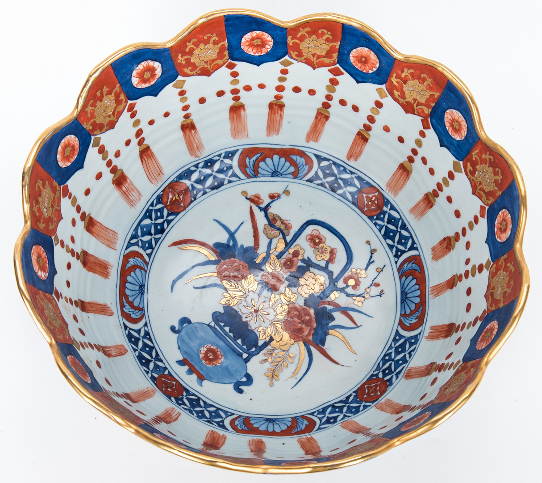 Lot 9: Large Japanese Imari Porcelain Punch Bowl, Scalloped Edge