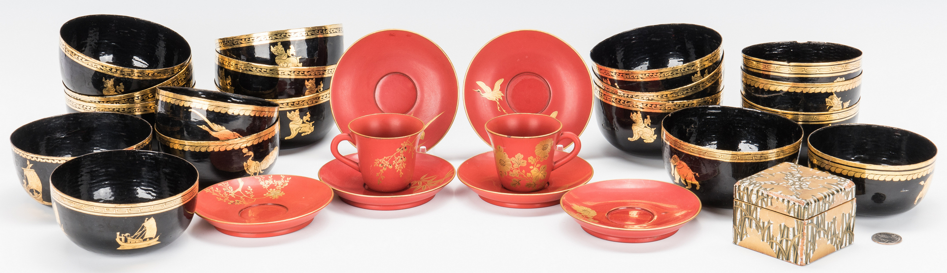Lot 1002: 27 Assorted Asian Lacquerware Items