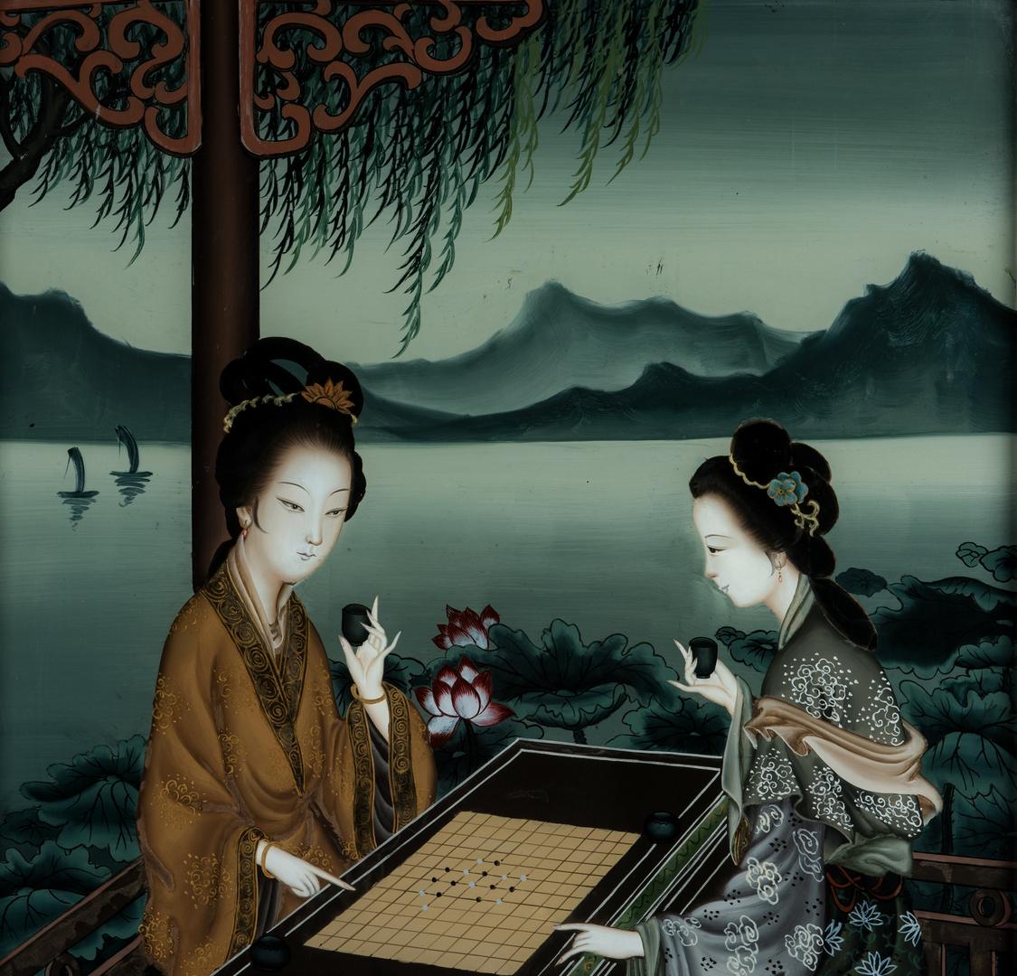 Lot 1004: 5 Asian Framed Items, inc. Monkeys, Geishas