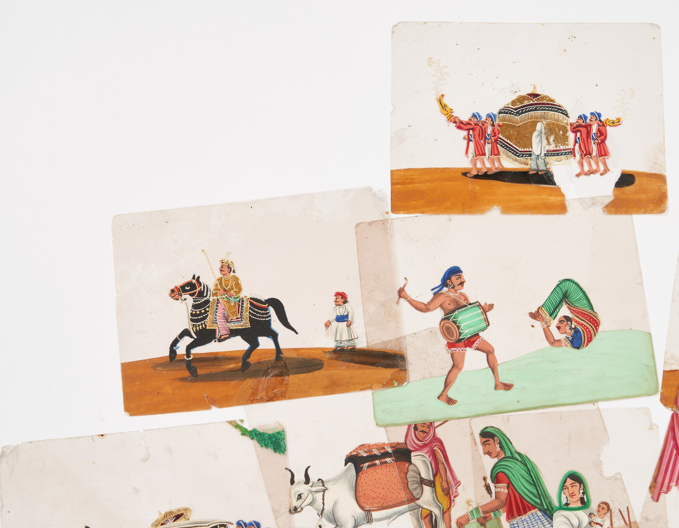 Lot 1008: 34 Indian School Gouache Paintings on Celluloid