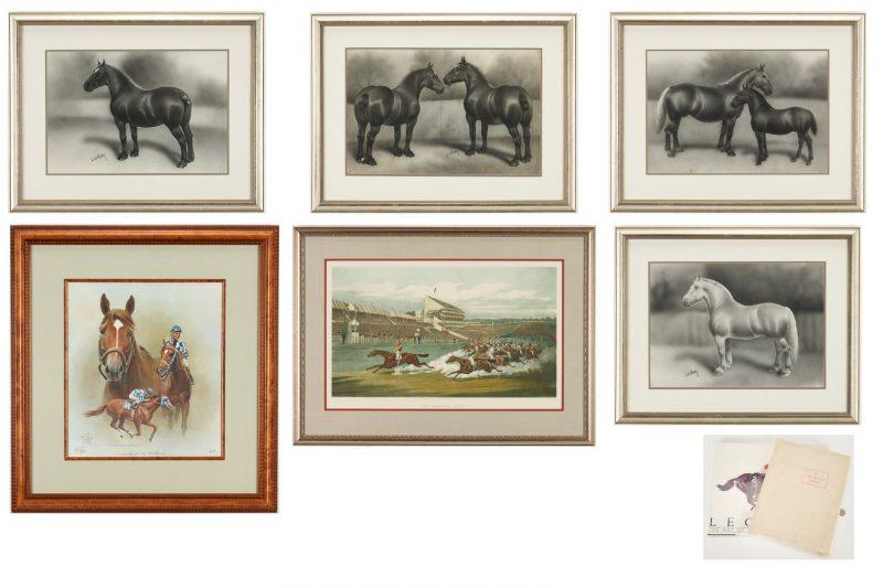 Lot 1017: 6 Horse Prints + 2 Horse Books, 8 items