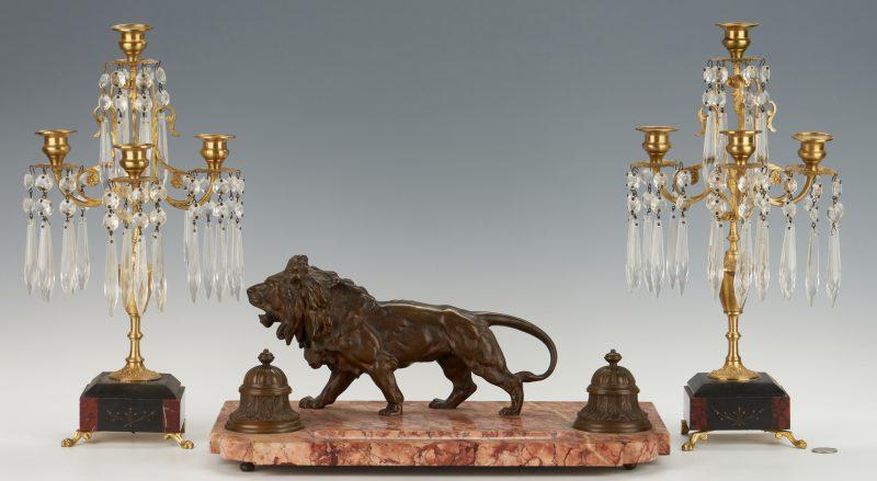 Lot 101: Inkstand with Bronze Lion Plus Candelabra