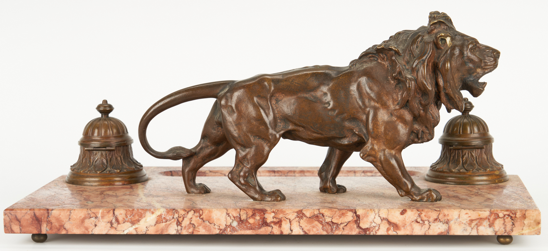 Lot 101: Inkstand with Bronze Lion Plus Candelabra