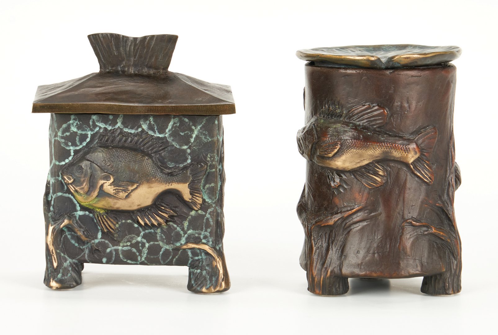 Lot 1020: 2 James G. Moore Bronze Fish Vessels