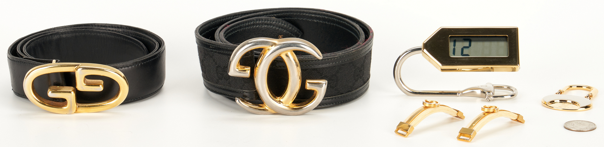Lot 1028: 8 Gucci items, incl. belts, promotional items