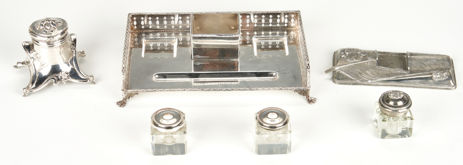 Lot 102: Group of 15 Inkwells and Ink Stands